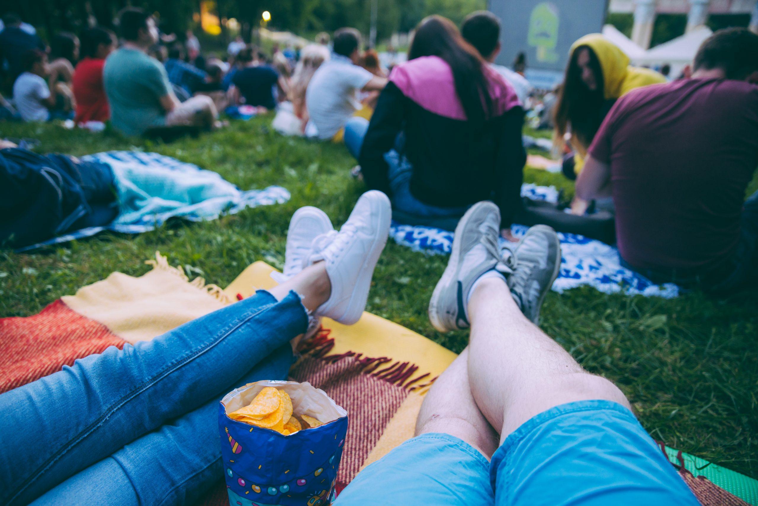 People,Watching,Movie,In,Open,Air,Cinema,In,City,Park